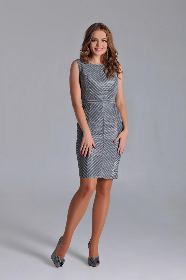 Арт: 3-74. Коктейльное платье из блестящей ткани в полоску Коктейльные фото 1