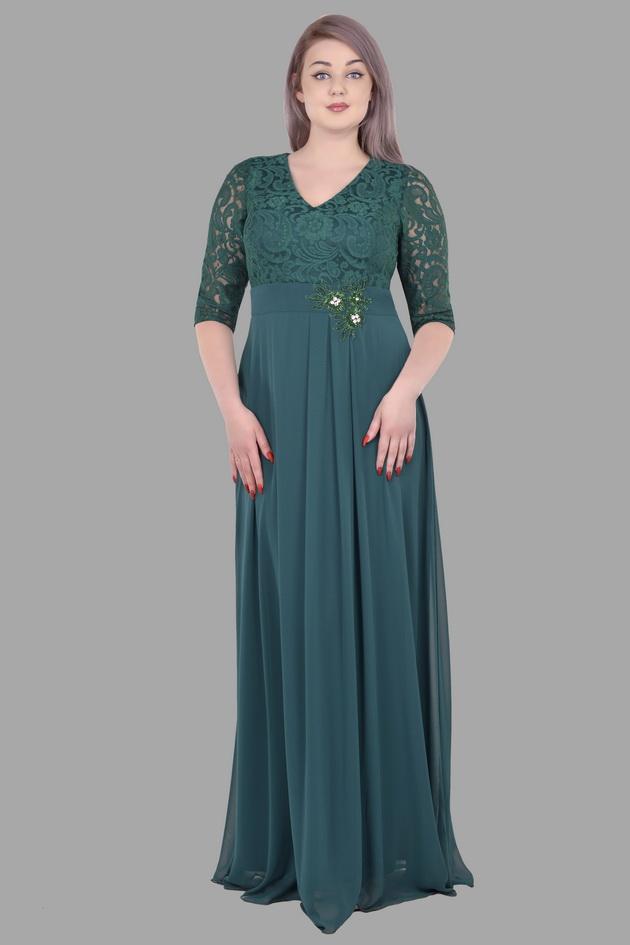 Арт: 34-58. Силуэтное вечернее платье с кружевной отделкой по поясу Вечерние фото 1