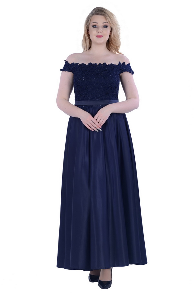 Арт: 40-04. Вечернее платье с вырезом кармен Вечерние фото 1