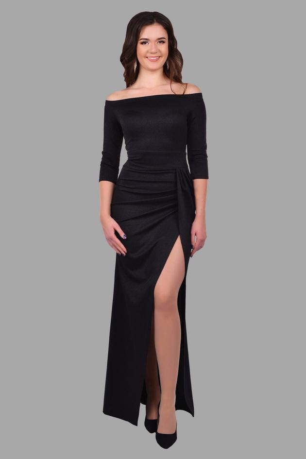 Арт: 40-17. Вечернее платье с вырезом лодочка, с разрезом Вечерние фото 1