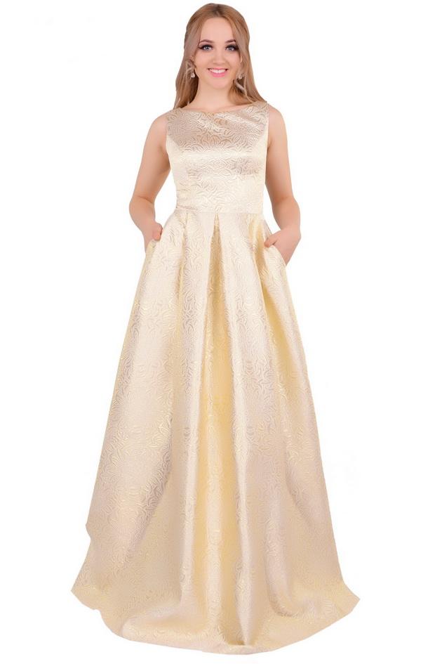 Арт: 42-03. Вечернее платье из жаккарда Вечерние фото 1