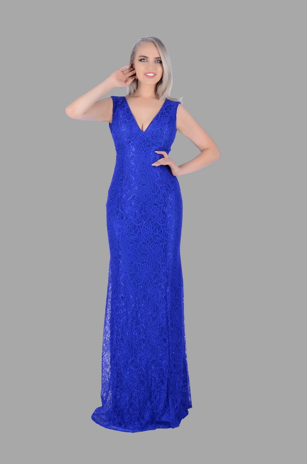 Арт: 42-58. Платье-русалка из гипюра, с глубоким декольте Вечерние фото 1