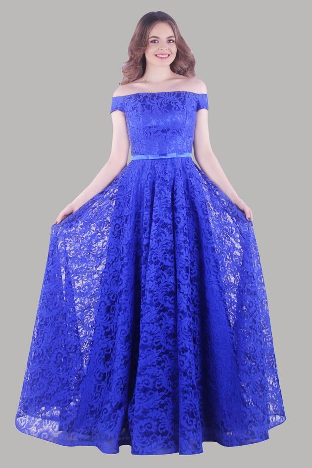 Арт: 42-84. Вечернее платье из гипюра с открытыми плечами Вечерние фото 1