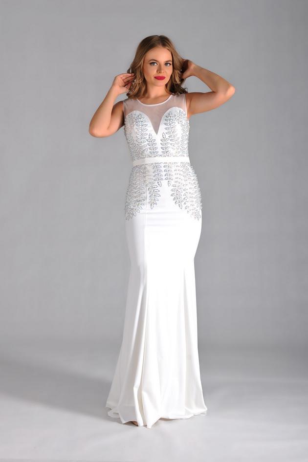 Арт: 43-55. Вечернее платье-русалка, украшенное рисунком из страз Вечерние фото 1