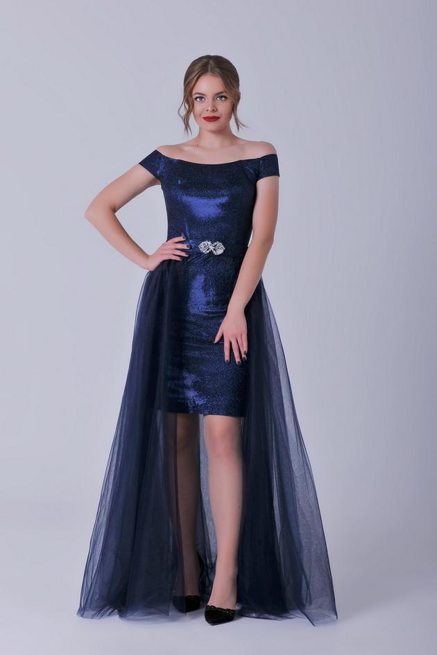 Арт: 44-76. Вечернее платье-футляр со съемной юбкой из  сетки Выпускные фото 1