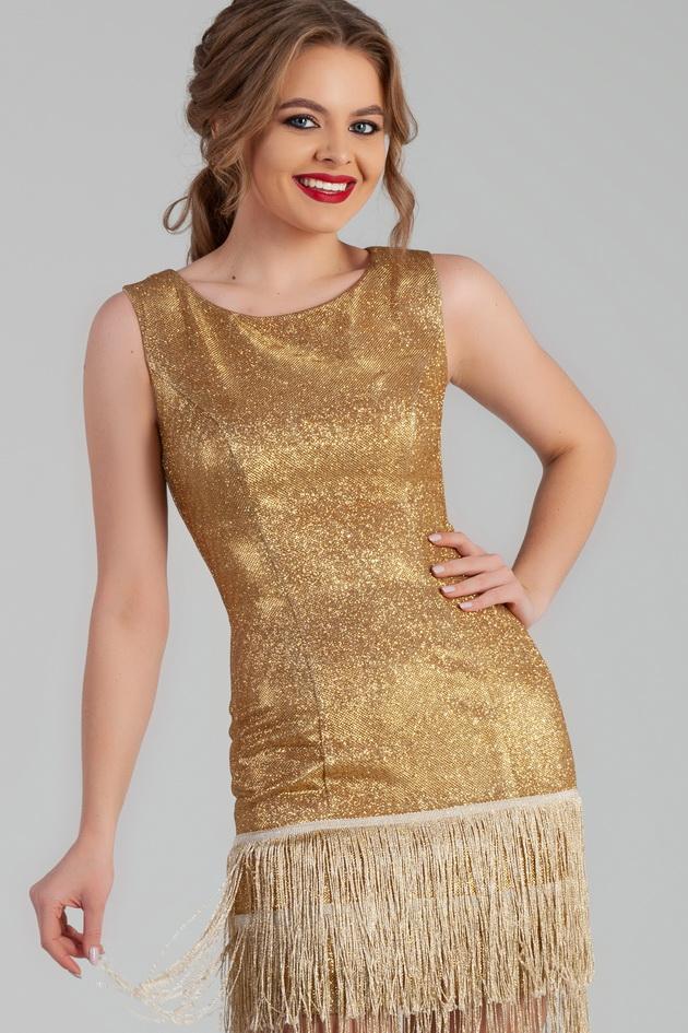 Арт: 44-77. Коктейльное платье футляр с бахромой Коктейльные фото 1