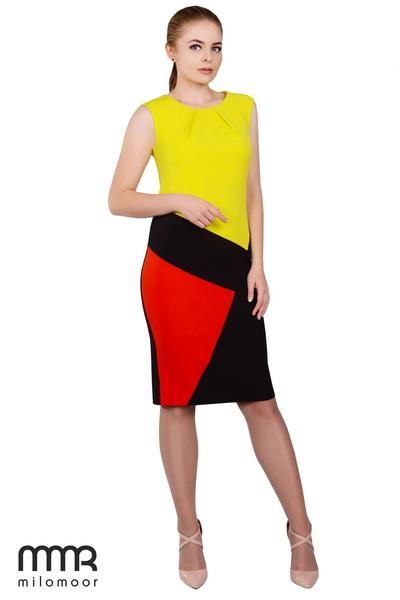 платье с асимметричным цветовым решением